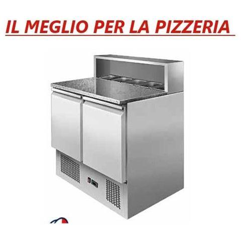 Banco pizza Saladette Tavolo 2 sportelli refrigerato con piano in granito - vetrina portacondimenti 5xGN1/6