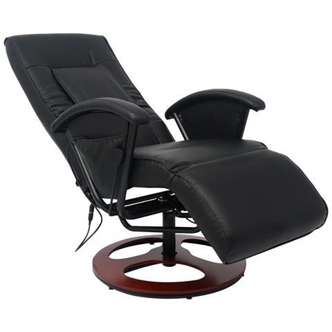 Vidaxl Poltrona Massaggiante Shiatzu Metà Pu Nera