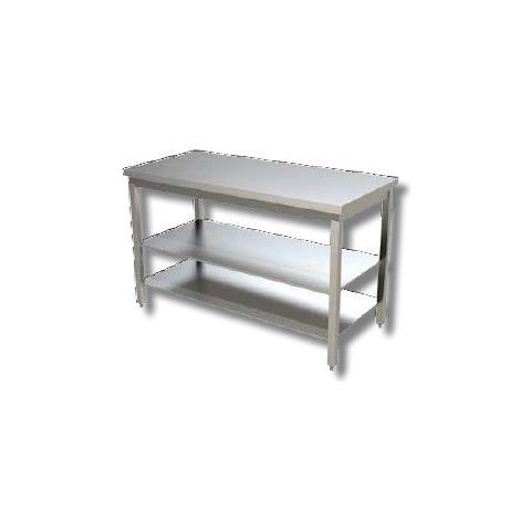 Tavolo 140x70x85 Acciaio Inox 430 Su Gambe Ripiano Cucina Ristorante Rs3978