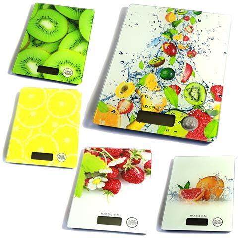 Bilancia Digitale Lcd Piatto Ripiano In Vetro Da Cucina 5kg Da1gr A 5kg Fantasia