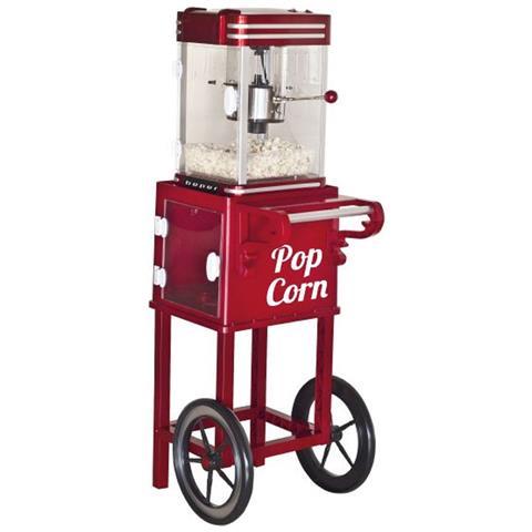 Macchina Per Pop Corn Con Carretto Elettrica Senza Olio 1200w Vintage