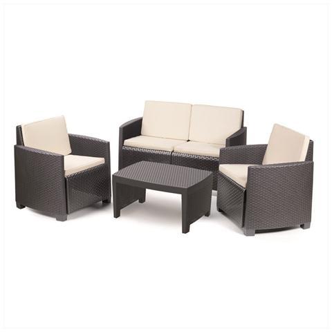 Set da Giardino 1 Divano 2 Sedie 1 Tavolino con Cuscini Moka - Modello Lipari