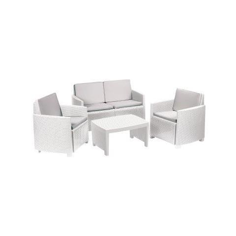Set da Giardino 1 Divano 2 Sedie 1 Tavolino con Cuscini Bianco - Modello Lipari