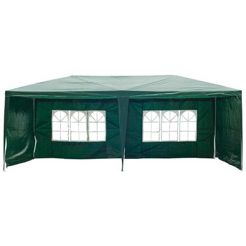 Gazebo Da Esterno Impermeabile In Acciaio E Pe Con Pannelli Rimovibili, Verde, 3x6m