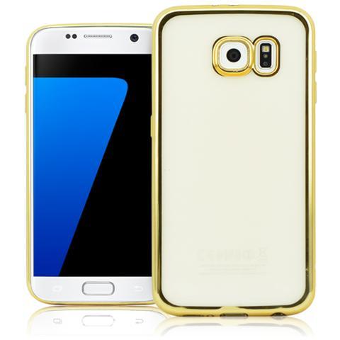 FONEX Sparkling Cover in Morbido TPU con Bordi ad Effetto Metalizzato per Galaxy S7 Colore Trasparente / Oro