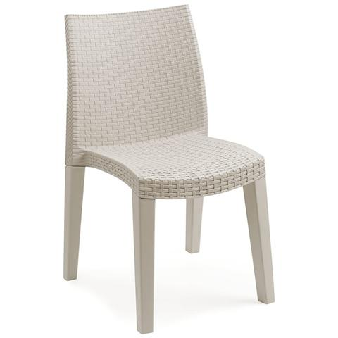 Sedia da Giardino Impilabile Intrecciata Colore Bianco - Modello Lady