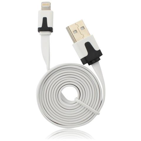 P.t.h.Gsm Usb Flat Cavo Iphone 5/5c / 5s / 6/6 Plus / ipad Mini Bianco Ios9 Compatibile 2m