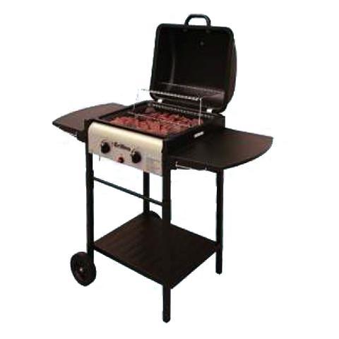Barbecue a Gas con Mensole Laterali in Acciaio