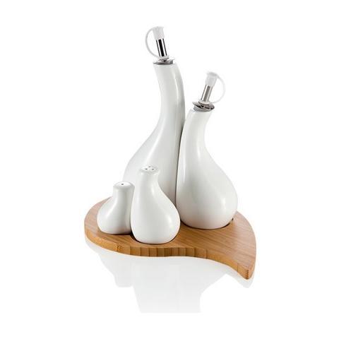 Menage Goccia Bianco set 4 pezzi Porcellana con Supporto Bamboo
