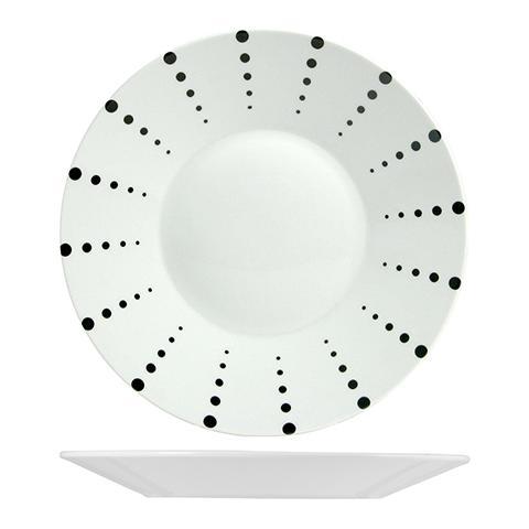 H&H Piatto Piano Porcellana Bianco Finland Dots Tableware