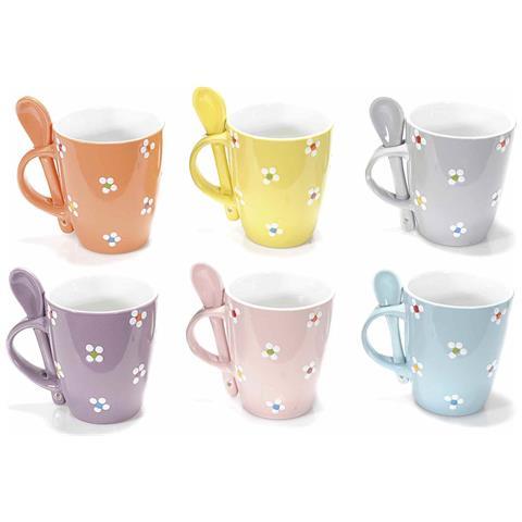 Set Tazzine In Ceramica Con Fiorellini E Cucchiai