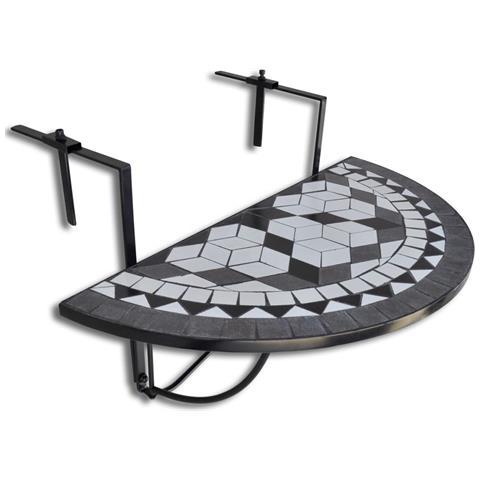 Mosaico Balcone Tabella D'attaccatura Semicircolare Nero Bianca