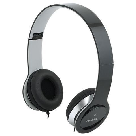 LOGILINK ICC SH-LBK - Cuffie Stereo Smile con Microfono Nere