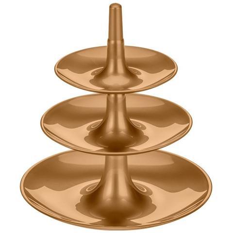 Babell L Alzatina A 3 Piani Componibile In Plastica Oro Perlato Dimensioni Cm 31,4 X 31,4 X H 34