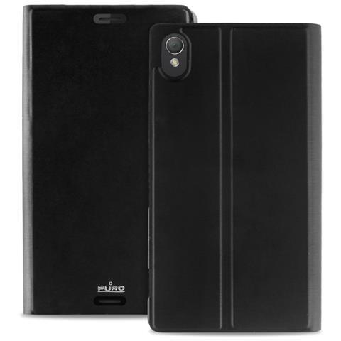 PURO Cust Sony Xperia Z3 Con Flip Oriz. + Vano Carta Nero RICONDIZIONATO