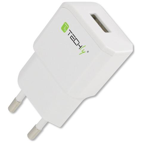 TECHLY IPW-USB-21EC - Alimentatore da Rete Italiana 1 porta USB 5V / 2.1A Bianco