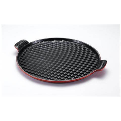 LE CREUSET Piastra Grill Rotonda Extralarge Diametro 32 cm Colore Rosso Ciliegia
