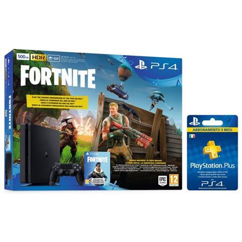 Image of Console Playstation 4 PS4 500 Gb E Slim + Fortnite Voucher e Abbonamento PSPlus 3 Mesi (90 gg) Limited Bundle