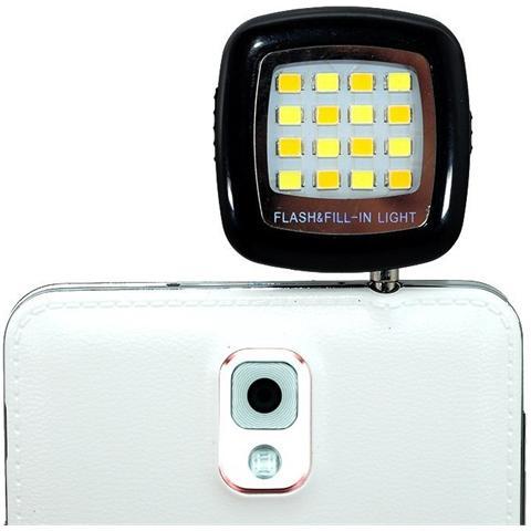 LOGILINK I-SMART-LIGHT - Luce Flash da 3.5'' a 16 LED per Smartphone Nero