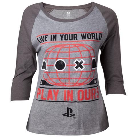 BIOWORLD Playstation - Female Raglan Baseball Grey (T-Shirt Donna Tg. M)