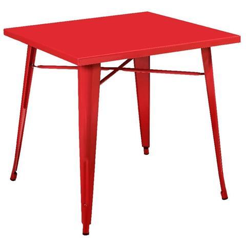 Matrix Tavolo Quadrato In Metallo Rosso 80x80xh76 Cm