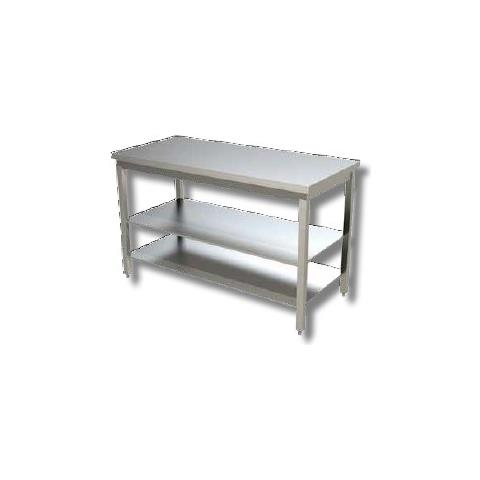 Tavolo 200x60x85 Acciaio Inox 430 Su Gambe Ripiano Cucina Ristorante Rs3967