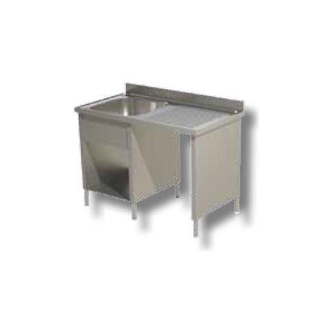 Lavello 120x70x85 Acciaio Inox 430 Su Fianchi Ripiano Vano Pattumiera Rs5053