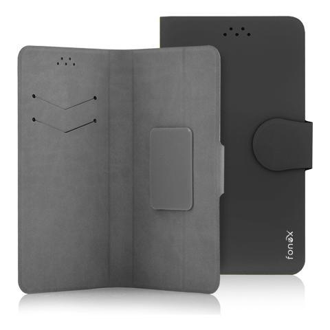 """FONEX Classic Detachable Custodia Universale a Libro per Dispositivi fino a 5.5"""" Colore Nero"""