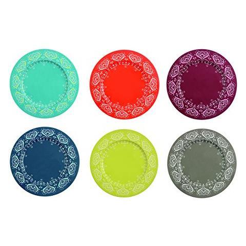 Mykonos Set Di 6 Sottopiatti Colorati, Metallo, 33 X 1.5 Cm, Multicolore