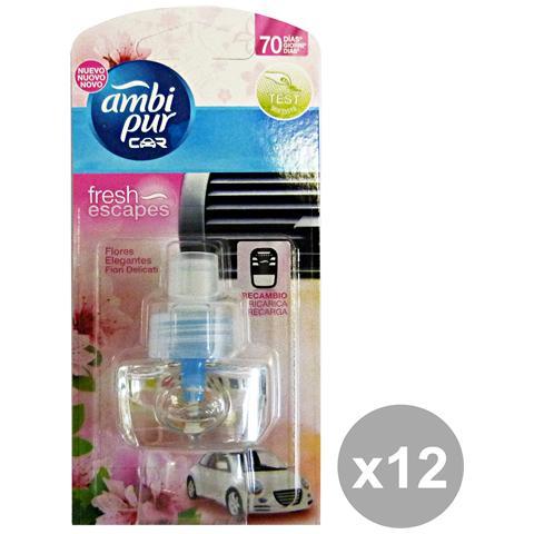 Ambi-Pur Set 12 Auto Ricarica Fiori Delicati Deodorante Accessori Auto E Mo