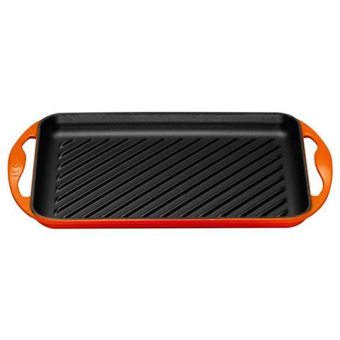 Piastra Grill Rettangolare Dimensioni 32.5x22cm Colore Arancio