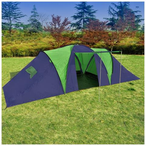 Tenda Da Campeggio In Poliestere Per 9 Persone Blu E Verde