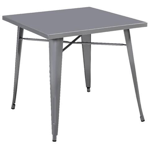 Matrix Tavolo Quadrato In Metallo Grigio 80x80xh76 Cm