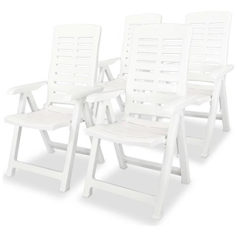 Sedie Reclinabili Da Giardino 4 Pz 60x61x108cm Plastica Bianche