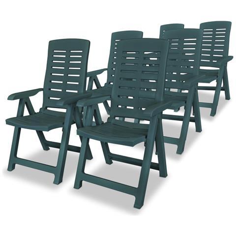 Sedie Reclinabili Da Giardino 6 Pz 60x61x108 Cm Plastica Verdi