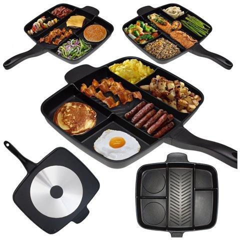 Takestop Padella Con Cotture Separate Magic Pan 5 In 1 Antiaderente Grill Piastra Non Attacca Cucinare Bistecchiera