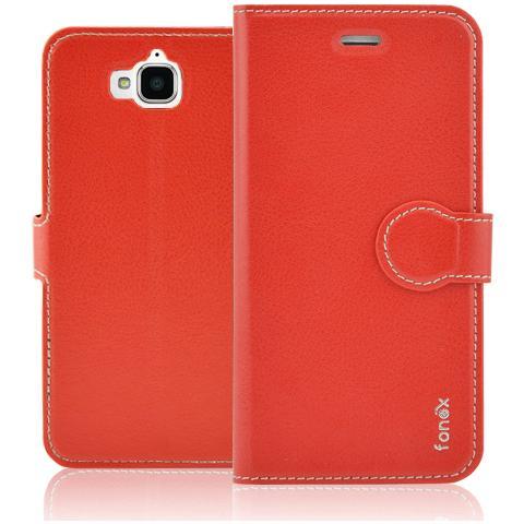 FONEX Identity Book Custodia a Libro per Huawei Y6 Pro Colore Rosso
