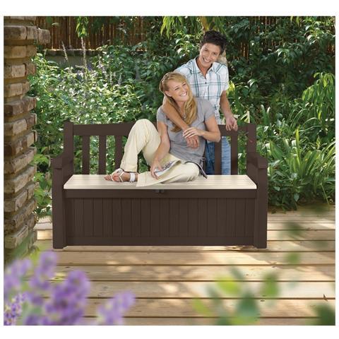 Cassapanca Garden Bench, 2 Posti, Vano Portaoggetti, L. 140xp. 60xh. 84 Cm Marrone