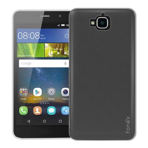 FONEX Inv Cover Ultra Sottile 0,2 mm in Morbido TPU per Huawei Y6 Pro Colore Nero Trasparente