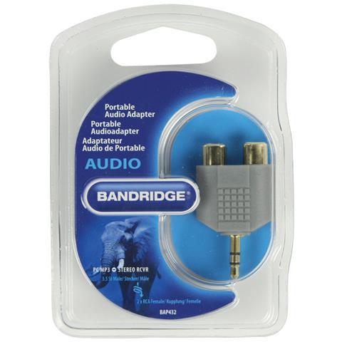 BANDRIDGE BAP432 3.5mm Maschio Stereo 2x RCA Female Nero cavo di interfaccia e adattatore