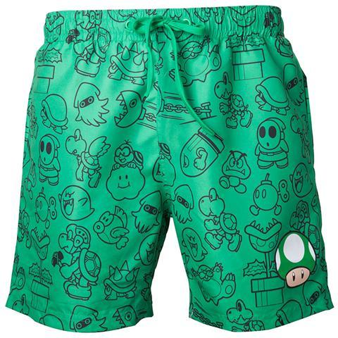 BIOWORLD Nintendo - Mario Green With Allover Print (Costume Da Bagno Uomo Tg. S)