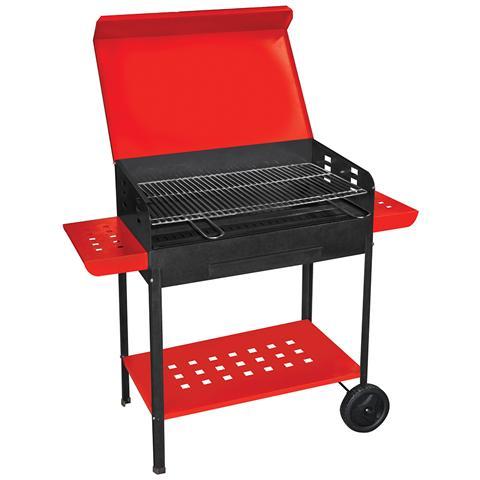 Barbecue A Carbonella 50x40xh90cm Con Ripiani Laterali E Ruote 501c