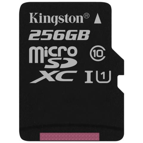 KINGSTON MicroSD da 256 GB Velocità UHS-I Classe 10 fino a 80MB / s in lettura