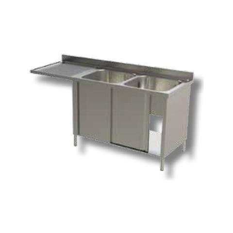 Lavello 200x70x90 Acciaio Inox 430 Armadiato Vano Lavastoviglie Cucina Rs7109