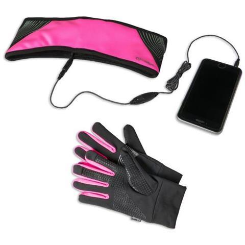 CELLY Kit Sport Guanti Touch Screen + Fascia Sportiva con Auricolari
