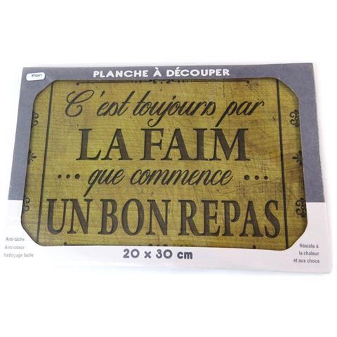 scheda di taglio / tavolo di vetro opaco 'citations' (la fame di un buon pasto) - 30x20 cm - [ p1041]