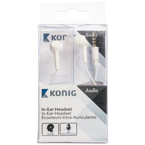 "KONIG König CSHSIER300WH, Stereofonico, Interno orecchio, Bianco, Cablato, Universale, 3.5 mm (1/8"")"