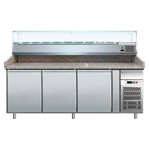 Banco pizza refrigerato con piano in granito e vetrina portacondimenti (Gn 1/3). Cm. 202