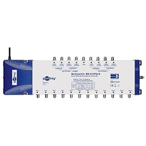 WENTRONIC SAT Multiswitch 9/12 MS-912PQ, 8x SAT, 1x terr, 230V, 50 Hz, 465 x 120 x 70 mm, Blu, Bianco