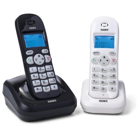 SAIET Telefono Cordless Dect Gap Con Portatile Addizionale - Display E Tastiera Retroilluminati - Vivavoce - Vega Twin B&W